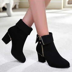 Women's PU Chunky Heel Boots Ankle Boots With Zipper Solid Color shoes
