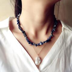 Exótico Bohemio Piedra Natural Aleación Perla con Perlas Collares 2 piezas