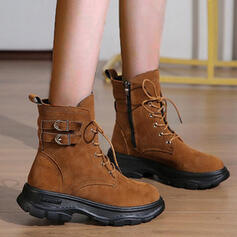 Women's Suede Flat Heel Boots Ankle Boots With Lace-up Solid Color shoes