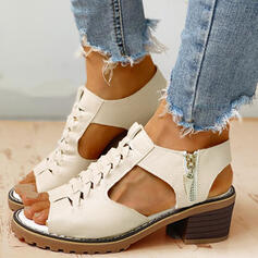 Women's PU Chunky Heel Sandals Pumps With Zipper shoes