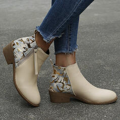 Women's PU Chunky Heel Ankle Boots Low Top With Animal Print Zipper shoes