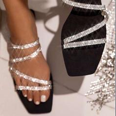 De mujer Brillo Chispeante Tacón plano Sandalias Encaje Pantuflas con Rhinestone Brillo Chispeante zapatos