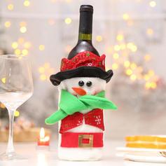 Christmas Merry Christmas Snowman Santa Non-Woven Fabric Wine Bottle Cover