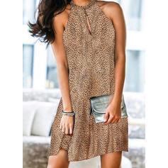 Print Sleeveless Shift Knee Length Elegant Dresses