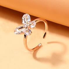 Shining Simple Butterfly Alloy With Rhinestone Women's Ladies' Rings