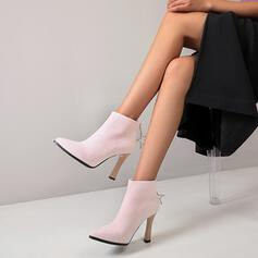 Women's Suede Cone Heel Ankle Boots Pointed Toe With Zipper shoes