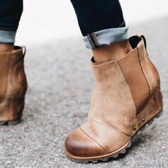 Women's PU Chunky Heel Ankle Boots Round Toe With Zipper Splice Color shoes