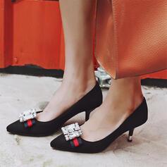 De mujer Ante Tacón stilettos Salón Dedo del pie puntiagudo con Rhinestone zapatos