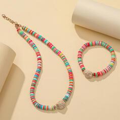 Exótico Colorido Bohemio Aleación Arcilla suave con Rhinestone Sistemas de la joyería Collares Pulseras (Juego de 2)