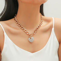 Shining Heart Alloy Rhinestones Women's Necklaces