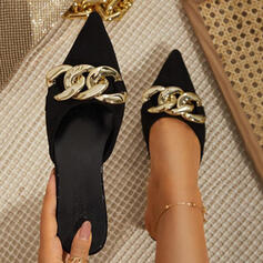 Women's PU Stiletto Heel Pumps Pointed Toe With Chain shoes