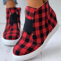 De mujer Tela Tacón plano Cima mas alta Alpargata con Cremallera Color de empalme zapatos