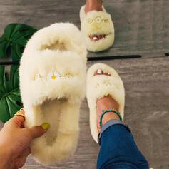Women's Velvet Flat Heel Slippers With Faux-Fur shoes