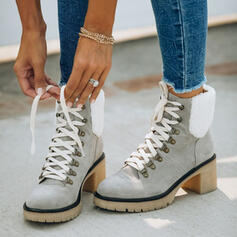 Women's Leatherette Chunky Heel Ankle Boots Snow Boots Round Toe Winter Boots With Lace-up Splice Color shoes