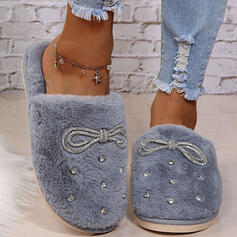 Women's Fake fur Flat Heel Flats Slippers With Rhinestone Faux-Fur Solid Color shoes