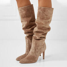 Women's Suede Stiletto Heel Knee High Boots Pointed Toe With Ruched Solid Color shoes
