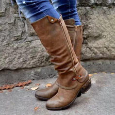 Women's PU Low Heel Mid-Calf Boots Riding Boots Round Toe With Buckle Zipper shoes