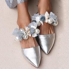 Women's PU Flat Heel Flats With Pearl shoes