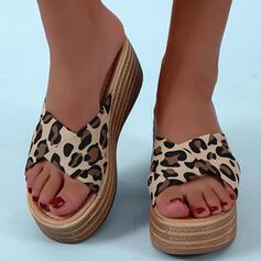 Women's PU Wedge Heel Sandals Peep Toe With Animal Print shoes