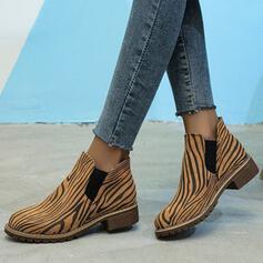 De mujer PU Tacón ancho Botas al tobillo Encaje con Banda elástica Color de empalme zapatos
