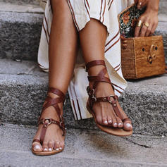 PU Flat Heel Sandals Toe Ring With Buckle shoes