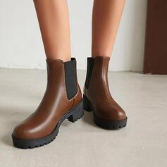 De mujer PU Tacón ancho Botas al tobillo Encaje con Banda elástica Color sólido zapatos