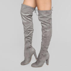 Women's Suede Stiletto Heel Over The Knee Boots Heels Pointed Toe With Zipper Solid Color shoes