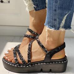 De mujer PU Tipo de tacón Sandalias Encaje con Rhinestone Agujereado zapatos