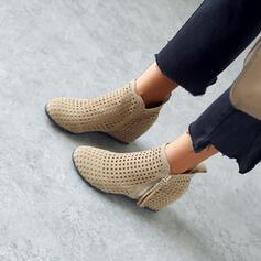 De mujer Cuero Tacón plano Botas al tobillo Encaje con Cremallera Color sólido Respirable zapatos