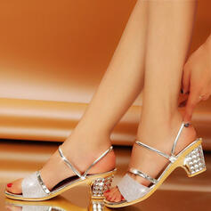 Women's PU Chunky Heel Sandals Peep Toe Slippers Heels With Sparkling Glitter shoes