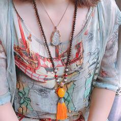 Bohemio Elegante Resina Perlas Metal Los granos de madera con Borlas Resina Perlas Collares