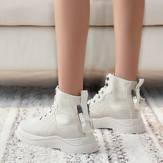 Women's Canvas Low Heel Ankle Boots Martin Boots With Splice Color shoes