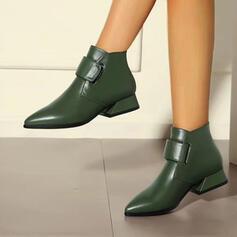 De mujer PU Tacón ancho Botas al tobillo Dedo del pie puntiagudo con Hebilla Color sólido zapatos