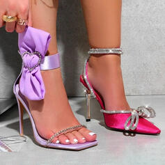 Women's PU Stiletto Heel Sandals Pumps Square Toe With Rhinestone Bowknot shoes