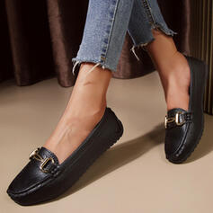 Women's PU Flat Heel Flats Low Top Round Toe Slip On With Solid Color shoes