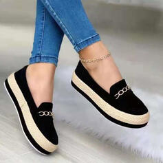 Women's PU Flat Heel Flats Slip On With Chain Splice Color shoes