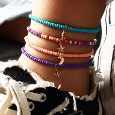 Boho Layered Alloy Beads With Star Moon Women's Ladies' Anklets 4 PCS