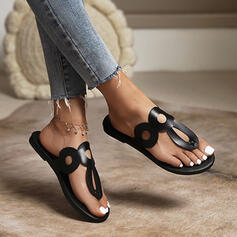 Women's PU Flat Heel Sandals Flats Peep Toe Slippers Round Toe With Solid Color shoes