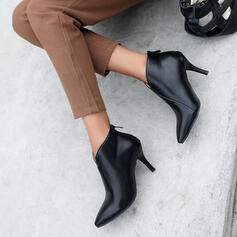 Women's PU Stiletto Heel Ankle Boots With Solid Color shoes