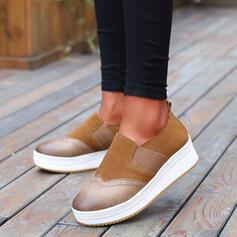 De mujer Cuero Tacón plano Planos con Banda elástica Color de empalme zapatos