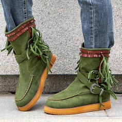Women's Suede Flat Heel Mid-Calf Boots Round Toe With Buckle Tassel shoes
