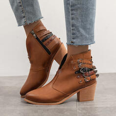 Women's PU Chunky Heel Ankle Boots Pointed Toe With Buckle Lace-up shoes