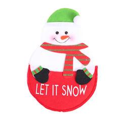 Christmas Merry Christmas Snowman Reindeer Santa Cloth Tableware Cover