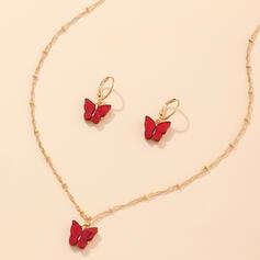 Simple Diseño de la mariposa con De la mariposa Sistemas de la joyería Collares Pendientes 3 PIEZAS