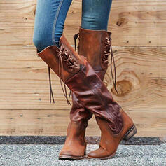 Women's PU Chunky Heel Knee High Boots With Lace-up Solid Color shoes
