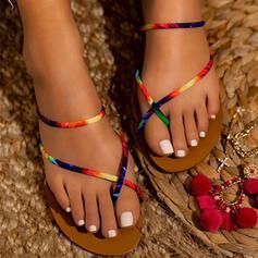 De mujer PU Tacón plano Sandalias Encaje con Color de empalme zapatos