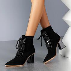 De mujer Cuero Tacón ancho Botas Botas al tobillo Dedo del pie puntiagudo con Cordones Color sólido zapatos
