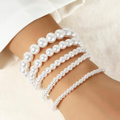 Simple Charming Layered Imitation Pearls Women's Ladies' Bracelets 4 PCS