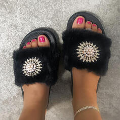 De mujer Piel sintética Tacón plano Sandalias Encaje con Rhinestone zapatos