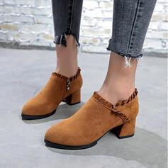 De mujer Ante Tacón ancho Salón Botas al tobillo Encaje con Cremallera zapatos